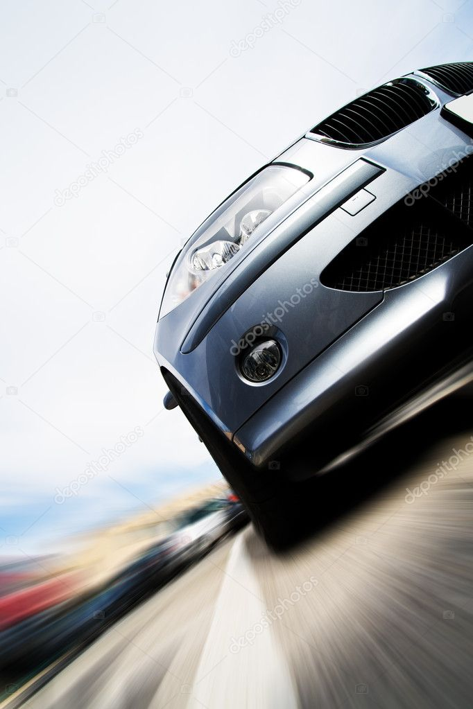 Very fast car moving with motion blur — Stock Photo #9458036