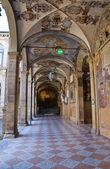 Vnitřní archiginnasio Bologni. Emilia-Romagna. Itálie. — Stock fotografie