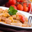 Stock Photo: Cavatelli with swordfish and eggplant.
