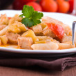 Royalty-Free Stock Photo: Cavatelli with swordfish and eggplant.