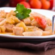 Cavatelli with swordfish and eggplant. — Stock Photo