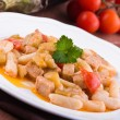 Cavatelli with swordfish and eggplant. — Stock Photo #10641873