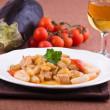 Cavatelli with swordfish and eggplant. — Stock Photo