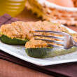 Stuffed zucchini halves. — Stock Photo