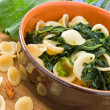 Stock Photo: Orecchiette with turnip tops.