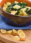 Orecchiette with turnip tops. — Stock fotografie