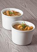 Borlotti bean and spelt soup. — Stock Photo