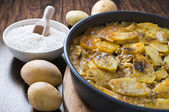 Tiella of potatoes, rice and mussels. — Stock Photo