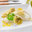 Fish with potatoes. - Stok fotoraf