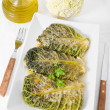 Savoy cabbage rolls on white dish. — Stock fotografie