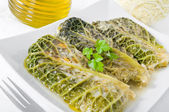 Savoy cabbage rolls on white dish. — Stock Photo