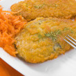 Spinach cutlet on white dish. — Stock Photo
