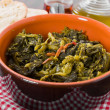 Stewed turnip greens. Cime di rapa stufate. — Stock Photo
