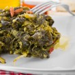 Stewed turnip greens. Cime di rapa stufate. - Stock fotografie