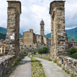 Hunchback Bridge. Bobbio. Emilia-Romagna. Italy. — Stock Photo #9761284
