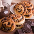 Stock Photo: Chocolate chip brioche buns.