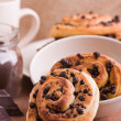 Chocolate chip brioche buns. - Photo