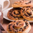 Chocolate chip brioche buns. - Foto de Stock