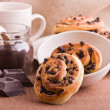 Chocolate chip brioche buns. — Stock Photo #9783507