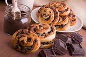 Chocolate chip brioche buns. — Stock Photo