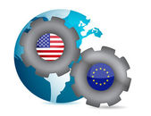 Us and european union working together illustration design — Stock Photo