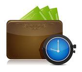 Portafogli e orologio design illustrazione sopra bianco — Foto Stock