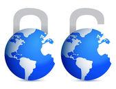 Vergrendelen en ontgrendelen globes illustratie ontwerp over witte rug — Stockfoto