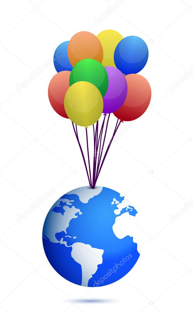 Planet and colorful balloons illustration design over white  — Stock Photo #10635940