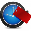 Clock with a red tag illustration design over white — Stock Photo