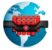Dynamite stuck around globe illustration design over white — Stock Photo