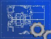 Abbildung der detailplanung blueprint und ausrüstung — Stockfoto