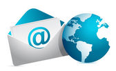 Mail and globe illustration design over white background — Stock Photo