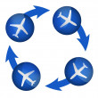 Airplane arrow cycle illustration design — Stock Photo
