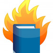 Open book with flame illustration design — Stock Photo