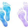 Baby footprint blue, pink illustration design on white — Stock Photo #9308130