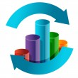 Business graph in arrow cycle illustration design — Stock Photo