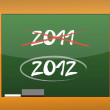 Stock Photo: New year 2012 written on a blackboard illustration design