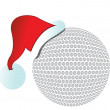 Santa hat golf ball illustration design on white — Stock Photo