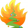 Christmas tree on fire illustration design on white — Stock Photo #9308324