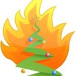 Christmas tree on fire illustration design on white — Stock Photo