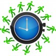 Group of running around the clock illustration design - Stock Photo