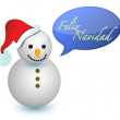 Spanish snowman with merry christmas sign illustration — Stock Photo