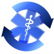 24/7 blue medical symbol cycle illustration design — Stock Photo