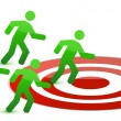 Team running to target illustration design on white — Stock Photo