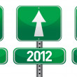 Happy new years street signs illustration design — Stock Photo