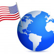 Planet earth with US flag. illustration design on white - Stock Photo