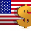 Royalty-Free Stock Photo: Dollar sign on us flag background - illustration design