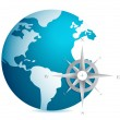 World globe illustration with compass over white background — Stock Photo