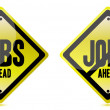 Jobs ahead Street sign over white background — Stock Photo #9308601