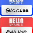 Success, failure red and blue name tags illustrations — Stock Photo